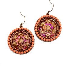 Load image into Gallery viewer, Czech Button Earring | Lace Star Pattern
