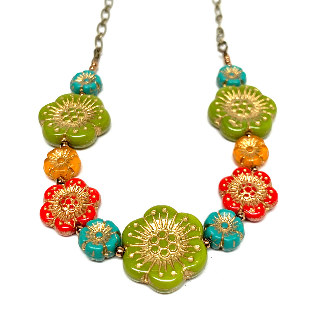 Czech Flower Necklace | Dia de los Muertos