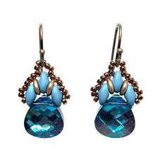 Load image into Gallery viewer, Persian Swarovski Earring - Turquoise & Matte Blue