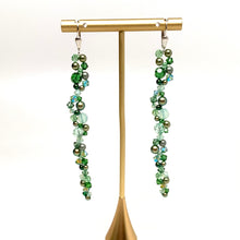 Load image into Gallery viewer, Long Swarovski Chain Earring | Shades of Green