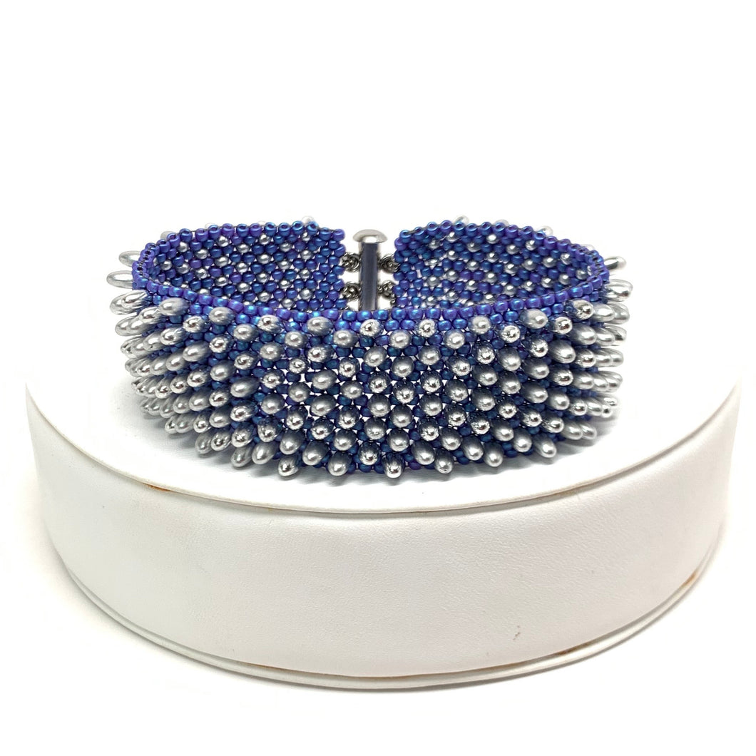 Spiked Bracelet | Matte Electric Blue & Silver