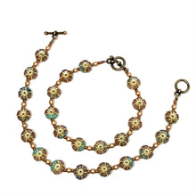Load image into Gallery viewer, Czech Flower Bracelet | Jade and Gold Mix