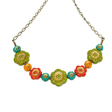 Load image into Gallery viewer, Czech Flower Necklace | Dia de los Muertos