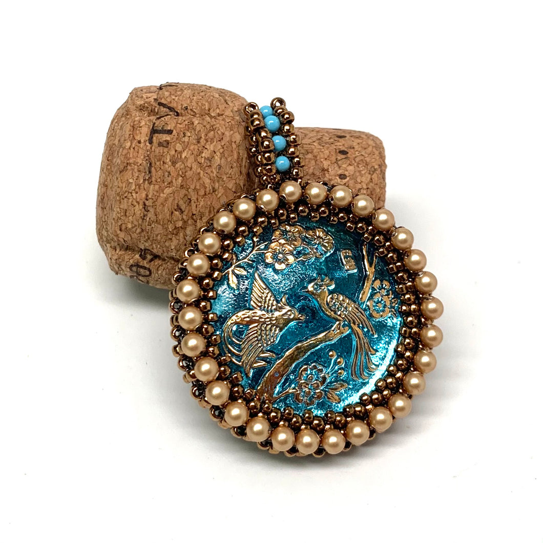Czech Button Pendant | Blue Peacock