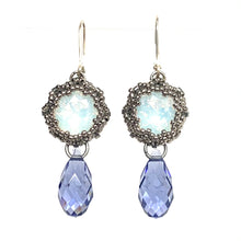 Load image into Gallery viewer, Swarovski Crystal Earring | White Opal & Tanzanite