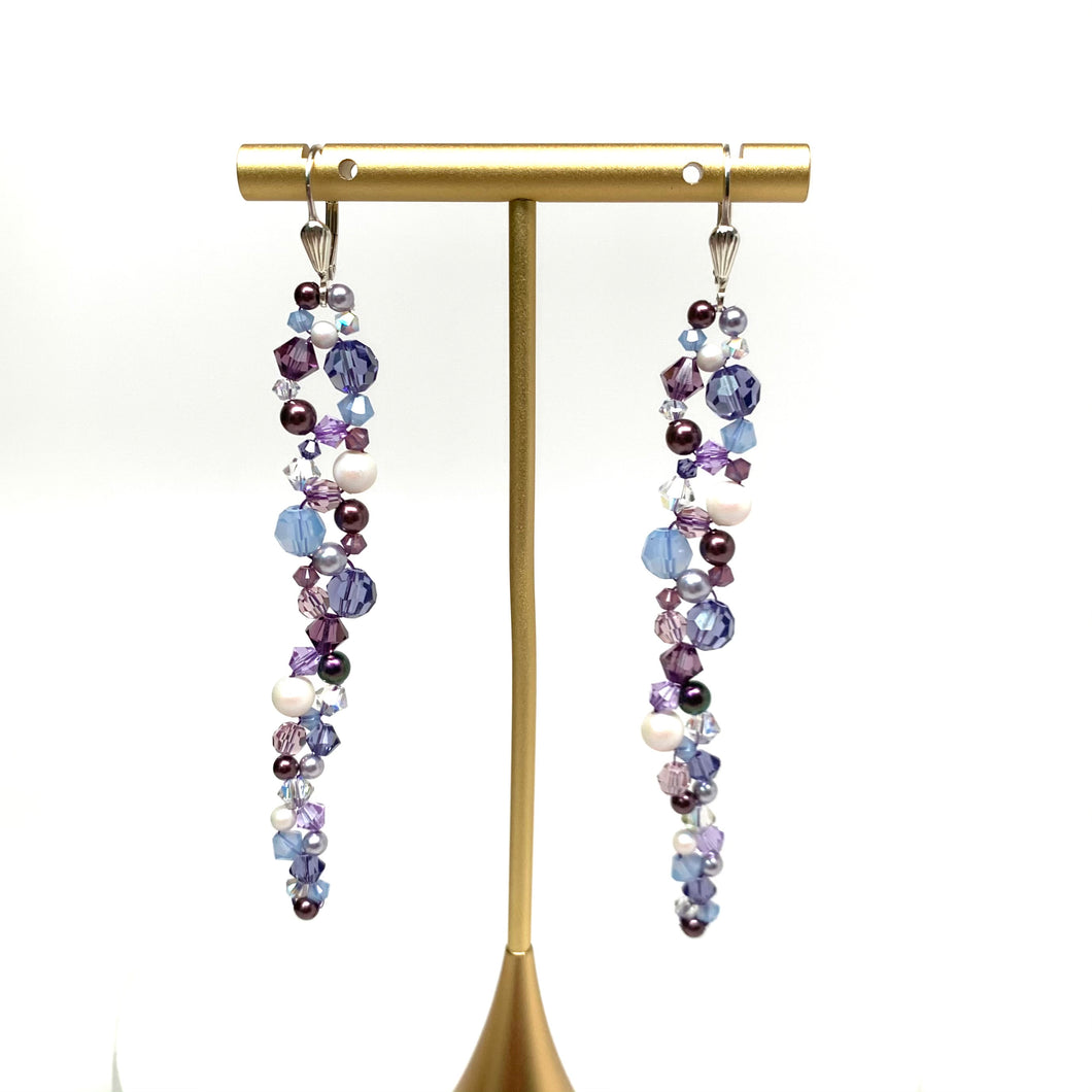 Long Swarovski Earring | Shades of Purple