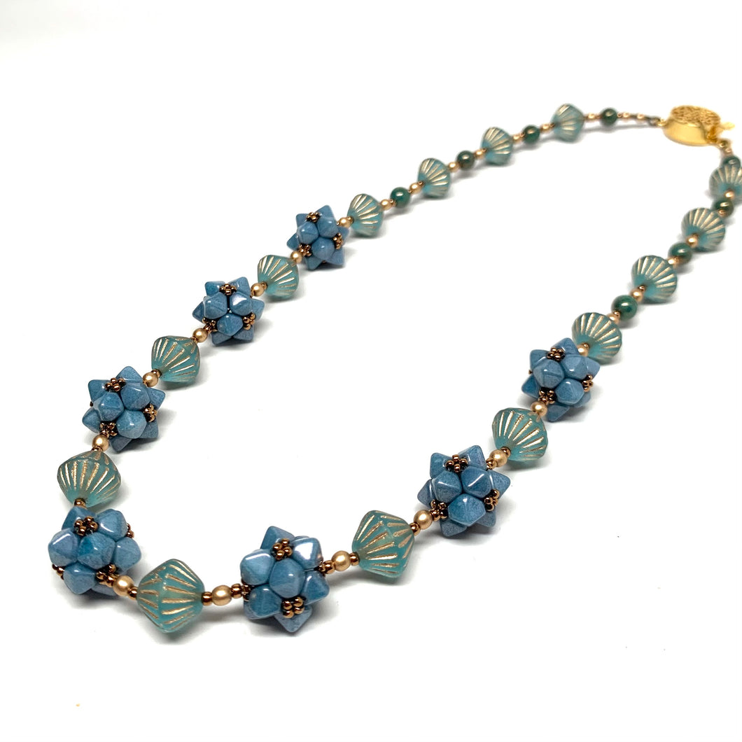 Geometric Beaded Bead Necklace - Blue & Gold