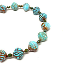 Load image into Gallery viewer, Czech African Bead Bracelet | Turquoise & Orange Mix