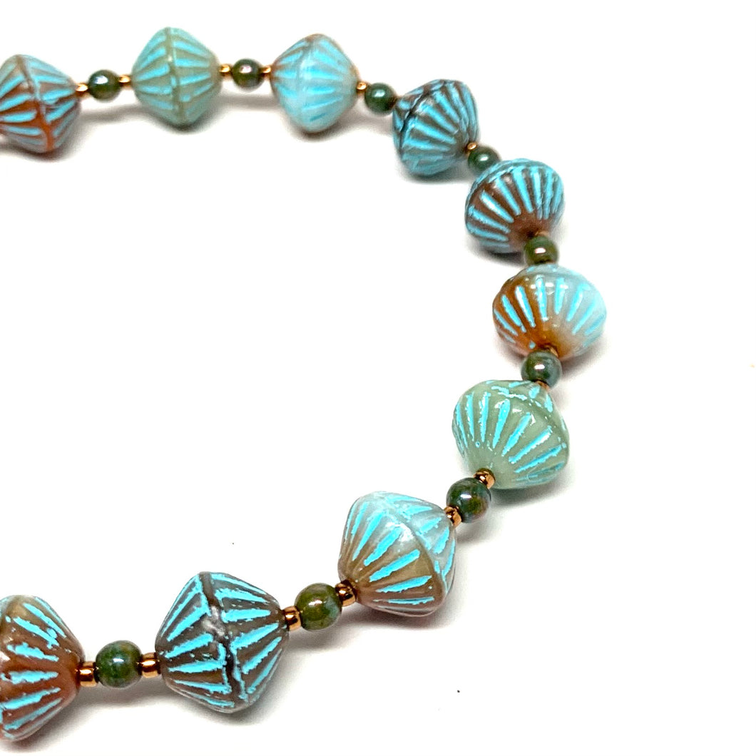 Czech African Bead Bracelet | Turquoise & Orange Mix