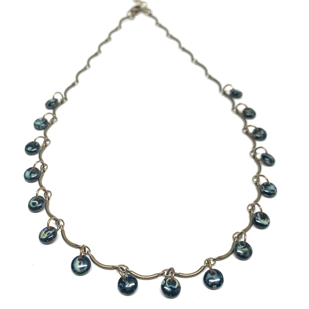Delicate Drop Necklace | Black Picasso Discs on Brass