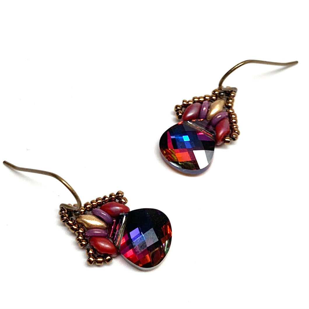 Persian Swarovski Earring - Red & Purple