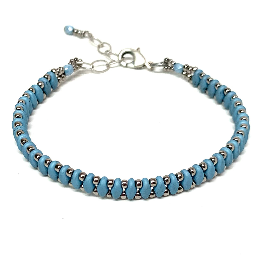Layering Bracelet | Matte Blue with Antique Silver