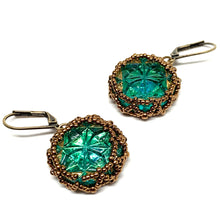 Load image into Gallery viewer, Vintage Czech Button Earring | Cut Green Star