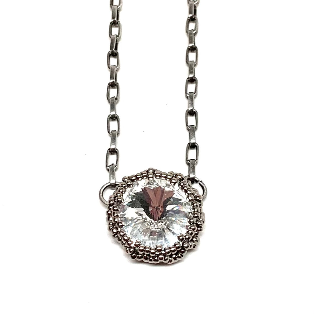 Bezel Set Swarovski Necklace | Single Crystal