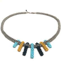 Load image into Gallery viewer, Petite Fringe Necklace | Silver with Turquoise, Black & Yellow