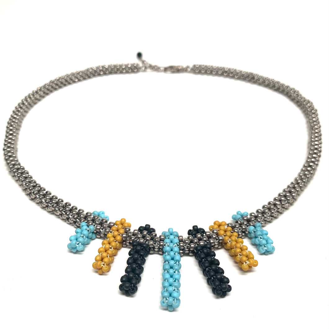 Petite Fringe Necklace | Silver with Turquoise, Black & Yellow