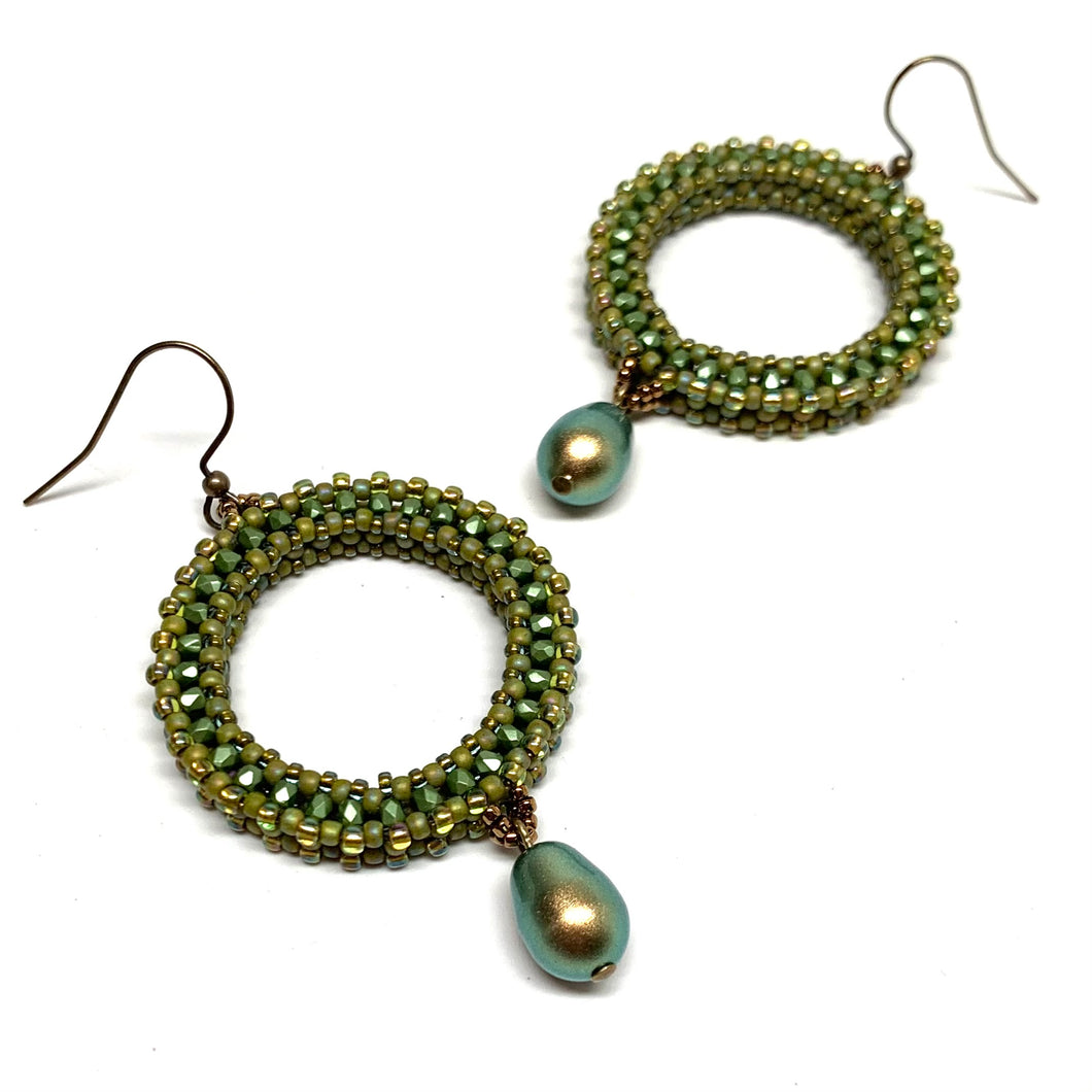 Beaded Hoops with Swarovski Drops | Green