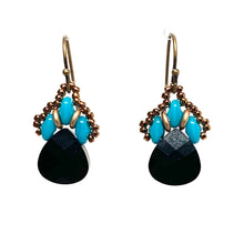 Load image into Gallery viewer, Persian Swarovski Earring - Black & Turqouise