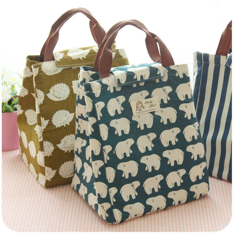Female Lunch Food Box Bag Fashion Insulated Thermal Food Picnic Lunch Bags