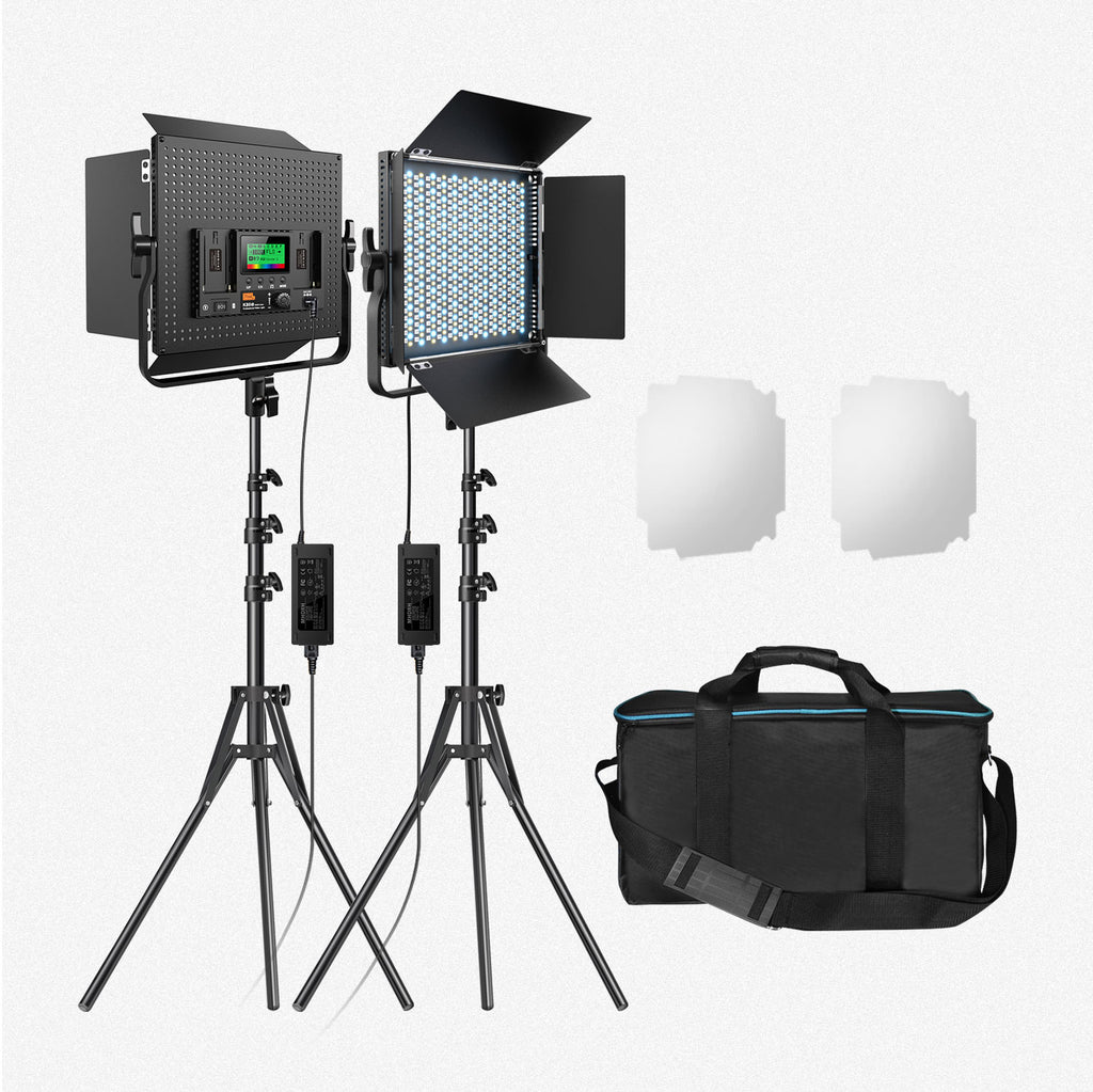 Pixel RGB LED Video Light K80RGB (2Packs) with Tripod Stands