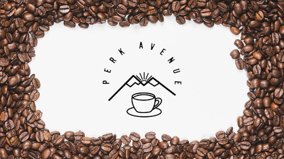 Perk Coffee logo with coffee beans