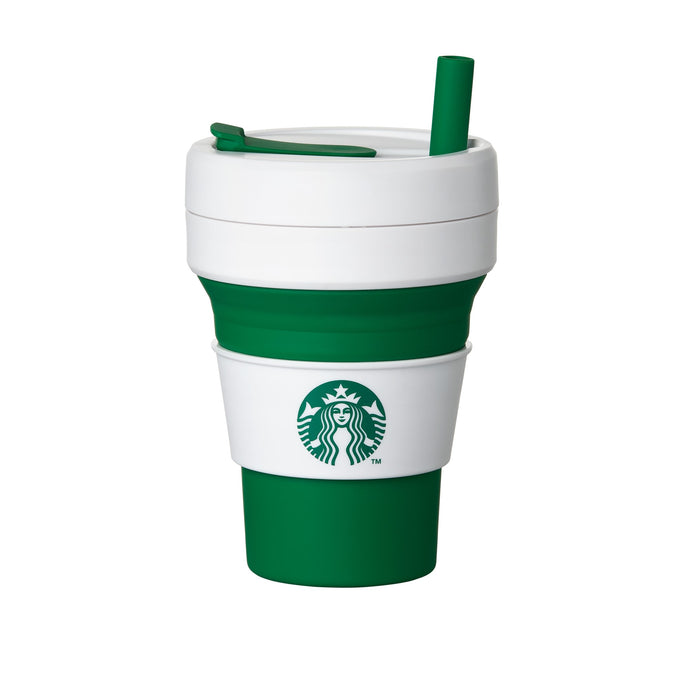 Stojo Plastic Green Collapsible Cold Cup 16oz