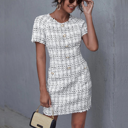 OEM Factory Design Tweed  Fashion Casual Summer Women Casual Dresses