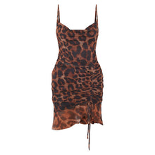Load image into Gallery viewer, 2020 Summer Sexy Brown Mesh Leopard Print Ruched Mini Bodycon Dress