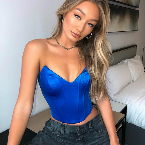 INS hot V-Neck Sling Tube Top 2020 Summer Women'S  Back Lace Up Tube Top