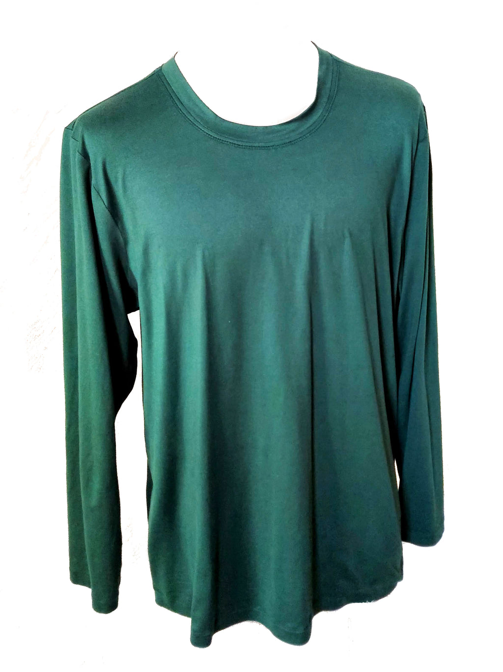 Hunter Green Long Sleeve Men's Shirt. Shirt on a mannequin showing the front of the shirt.