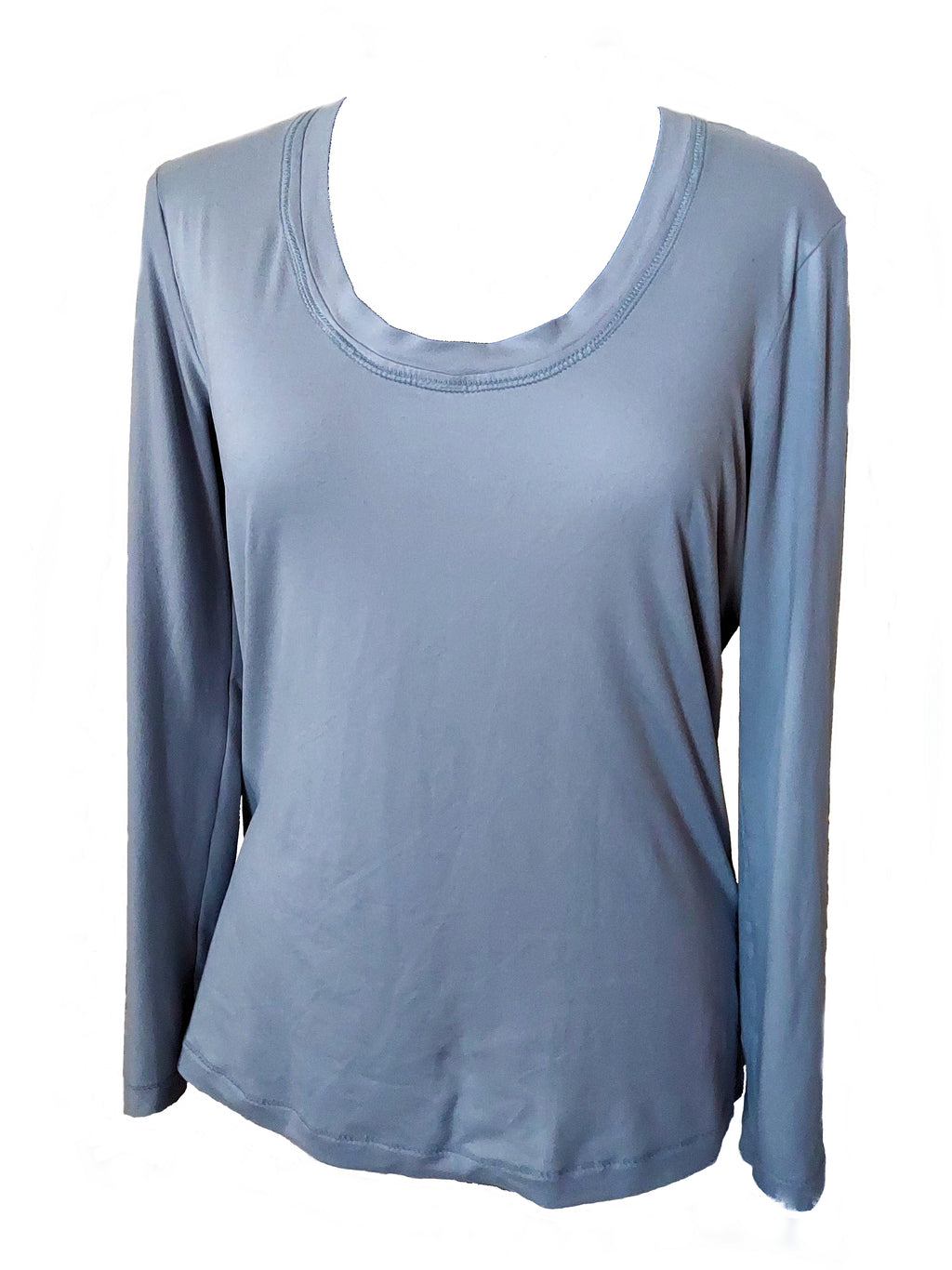 Silver Long Sleeve Shirt. The shirt is on a mannequin showing the front of the shirt.