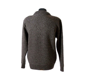 Back view of a long sleeved, round neck pure lambs wool jumper in brown