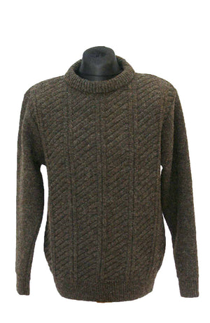 Brown pure lambswool jumper, round neck & long sleeved for men and women