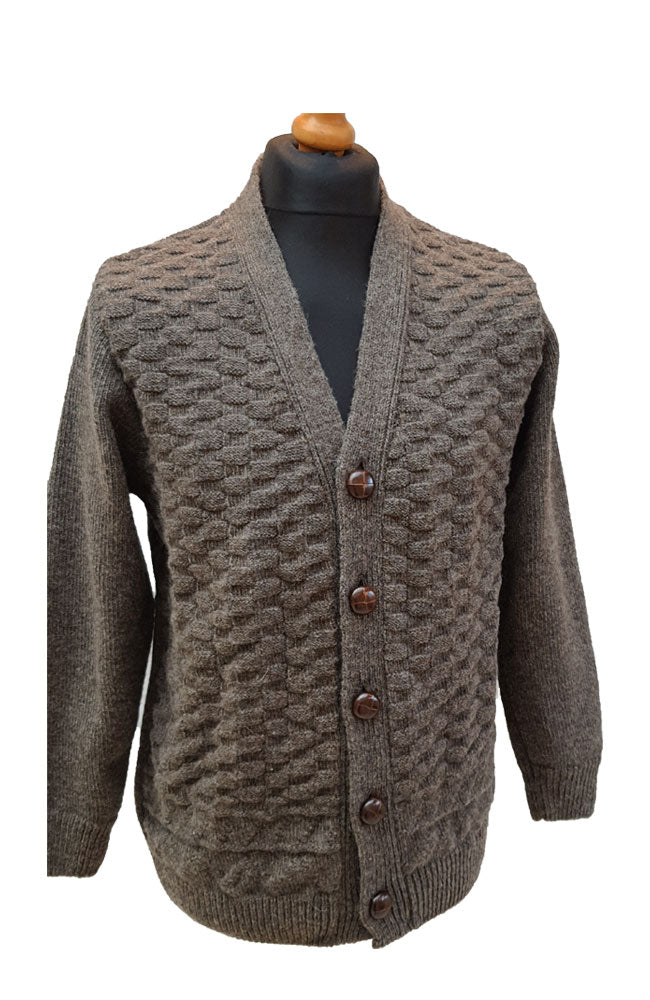 Cosby In Brown Pure Wool Cardigan