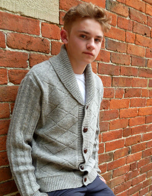 Harbro In Grey Pure Wool Cardigan