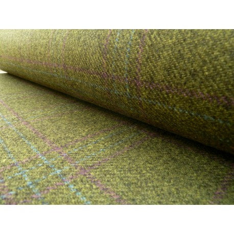 Olive green lambswool tweed with a purple and blue woven pattern