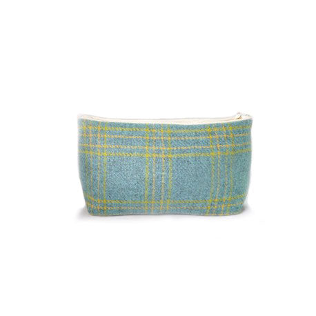 Blue tweed with yellow pattern wash bag made from natural wool with white zip
