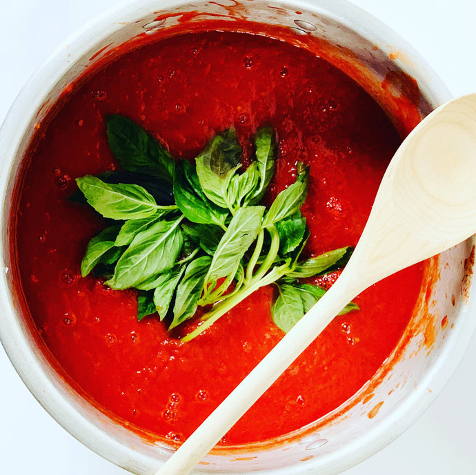 Slow Cooked Tomato Sauce with Fresh Basil