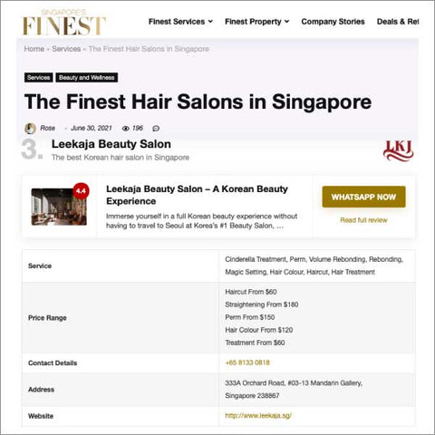 Singapore's Finest: The Finest Hair Salons in Singapore