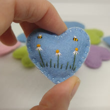 Load image into Gallery viewer, Pastel Embroidered Felt Heart Pocket Hug