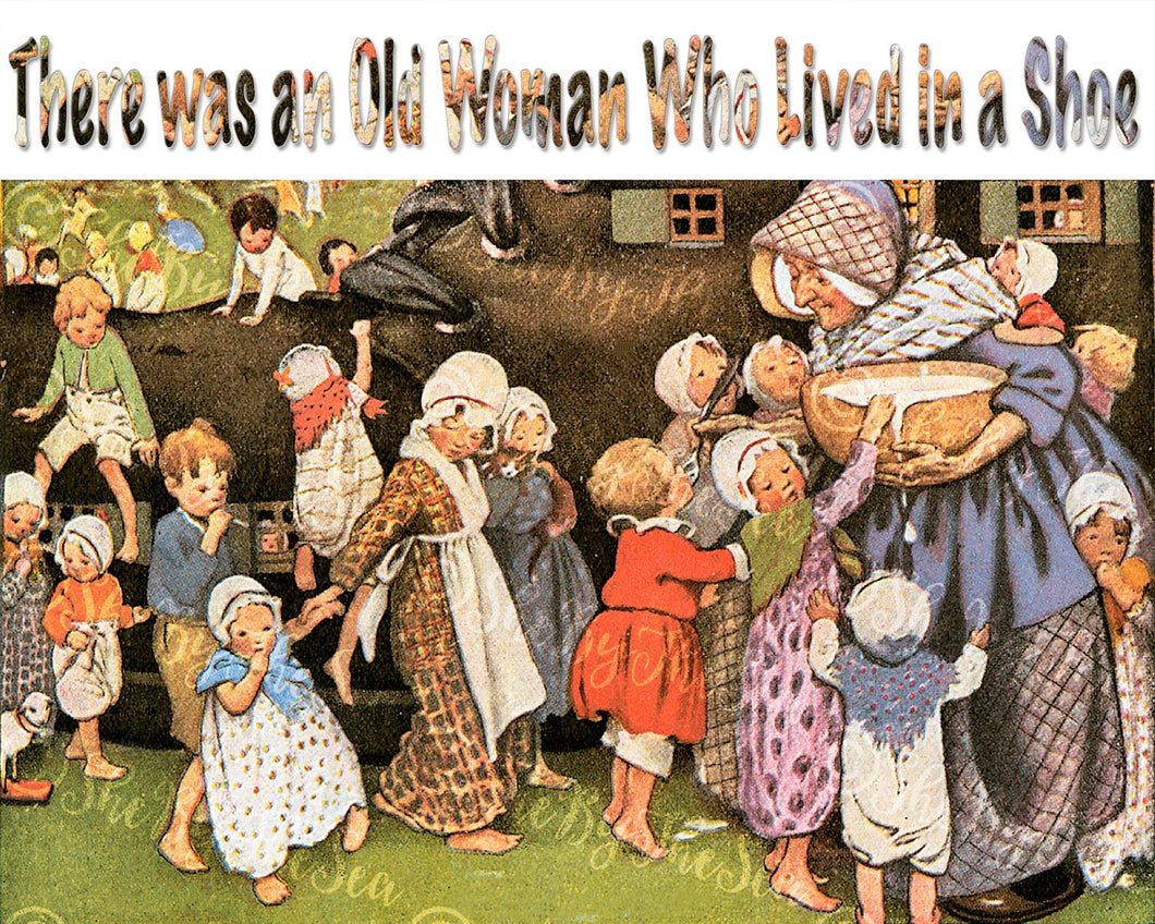 Jessie Wilcox Smith Artwork. Instant download of There was an Old Woman Who Lived in a Shoe. Digitally Restored.