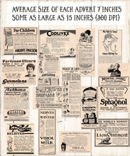 Load image into Gallery viewer, Apothecary Vintage British Advertsfor commercial use. Large medical treatment advertisements from 1926.