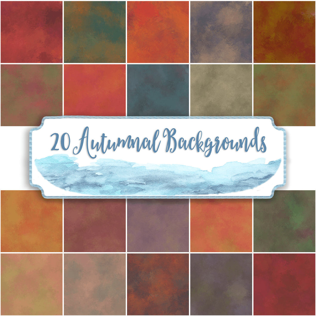 Autumn Fall watercolour backgrounds for commercial use. 20 large sheets for instant download