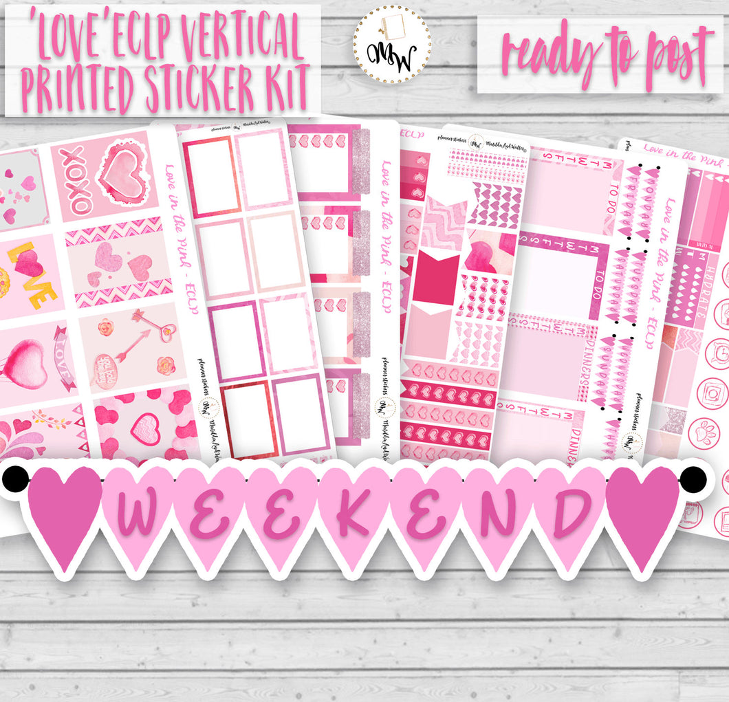 Valentine's Planner Kit with scrumptious shades of pink. Handmade by a UK seller.
