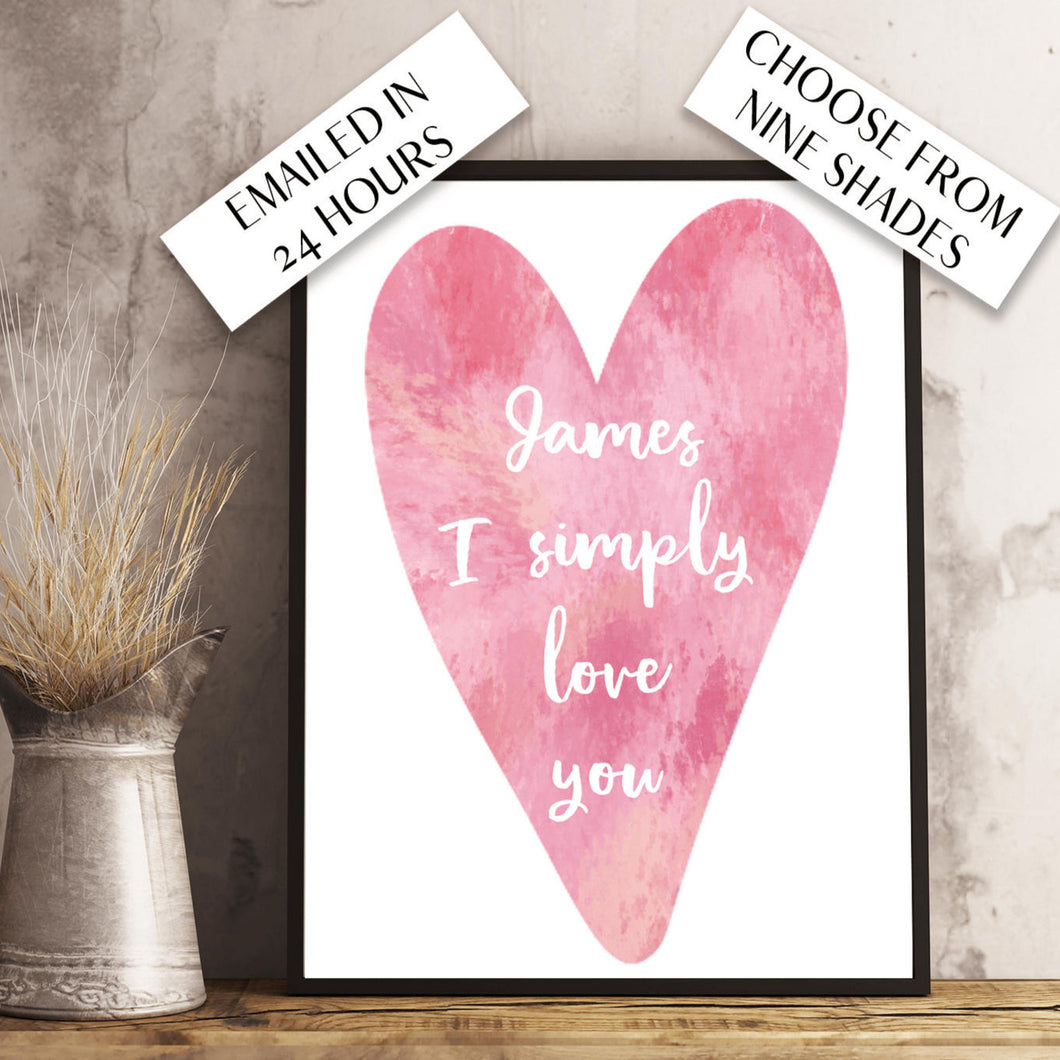 Valentine's Custom Watercolour Design. Personalised for you and emailed within 48 hours.