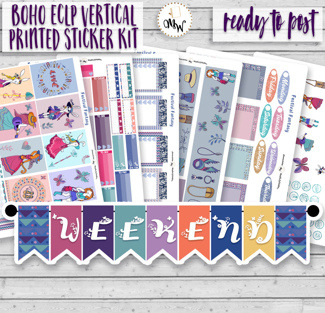 Festival Girls Planner Kit for Erin Condren or Happy Planner. Boho, hippy style planner stickers, perfect for summer music festivals