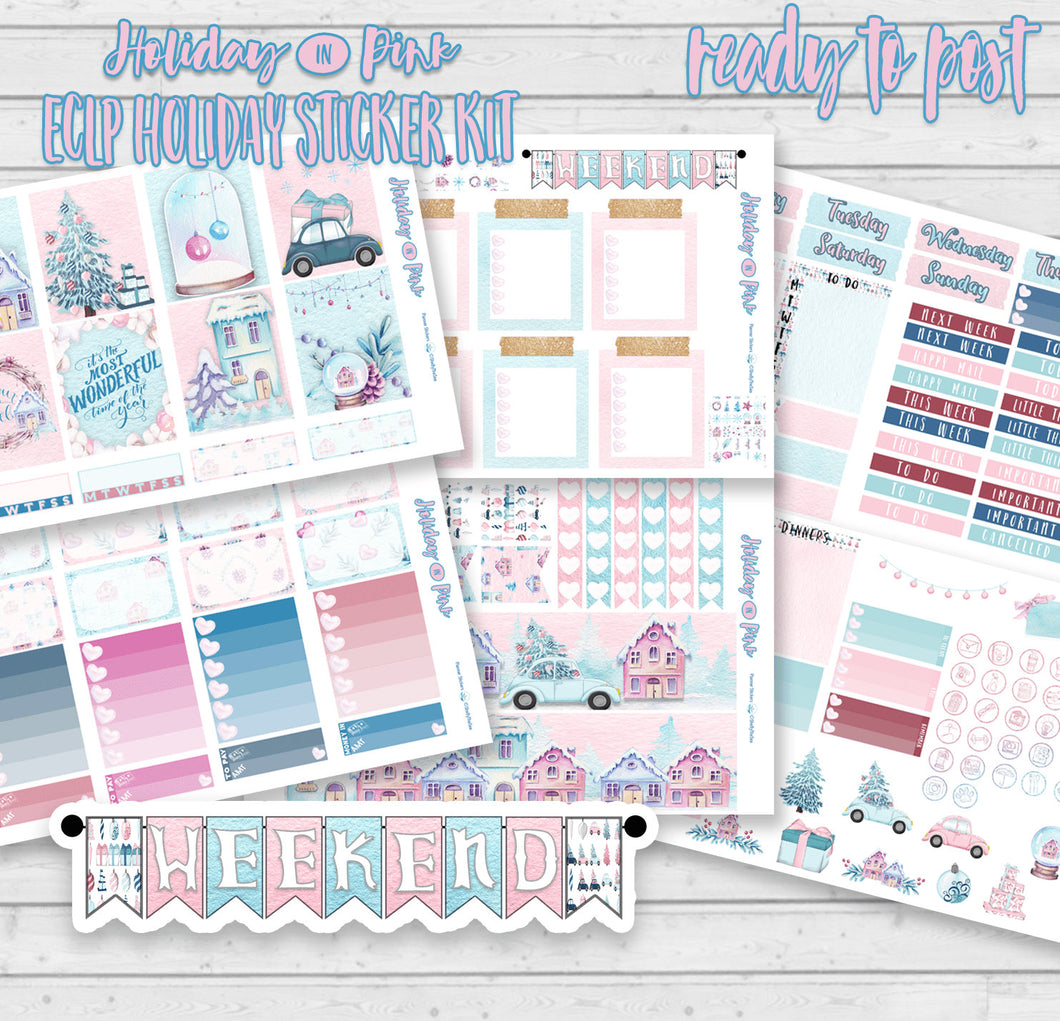 Pink Planner Christmas Sticker Kit for Erin Condren. Gorgeous handmade stickers in pink and baby blue.