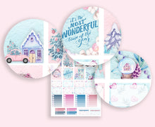 Load image into Gallery viewer, Pink Planner Christmas Sticker Kit for Erin Condren. Gorgeous handmade stickers in pink and baby blue.