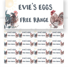 Load image into Gallery viewer, Custom Egg Box Labels for free range egg sellers. Egg Sales Stickers. Farmers Market Stickers.