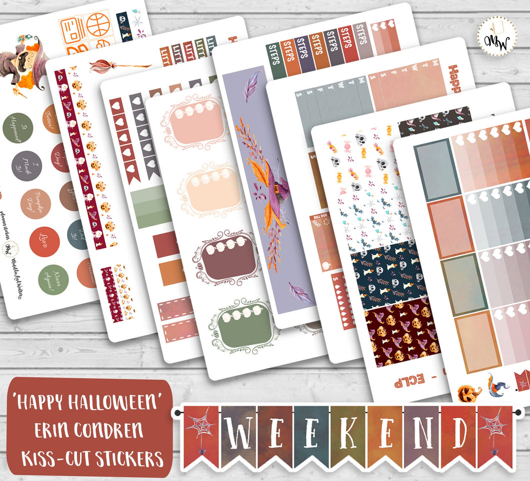 Halloween Planner Weekly Kit| Cute Halloween Planner Stickers with Skulls, Witches, Pumpkins etc